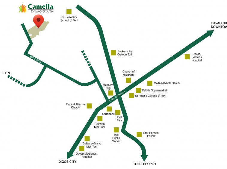 Camella Toril vicinity map