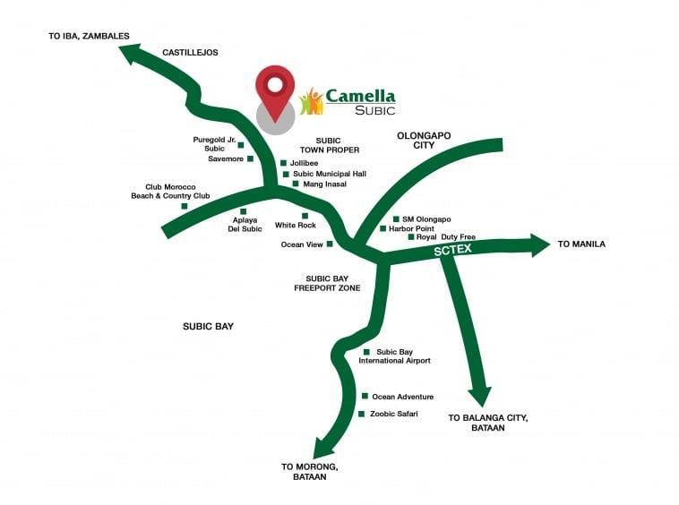 Camella Subic vicinity map